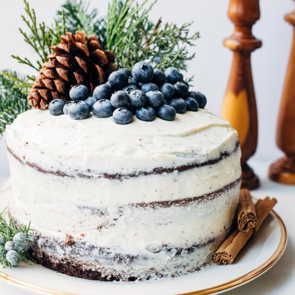 Rustic Chocolate Blueberry Christmas Cake