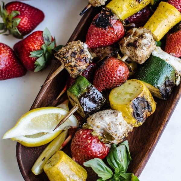 Strawberry, Summer Squash, and Chicken Kabobs