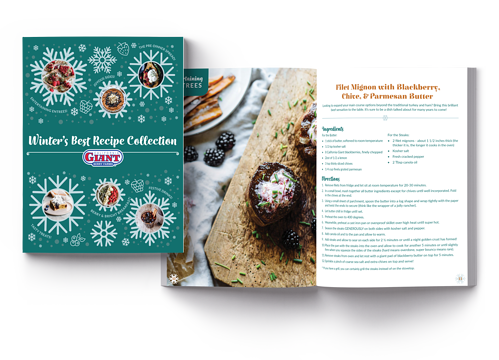 Winter's Best Recipe Collection Cover and Spread Mockup