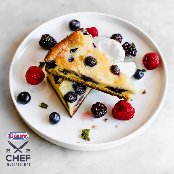 Warm Blueberry Gooey Butter Cake with Lemon Ricotta Sherbet and Mixed Berries