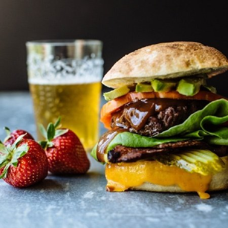 strawberry ancho bbq burger